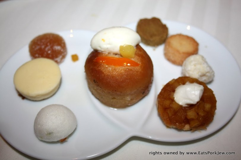 assortment of desserts from Guy Savoy
