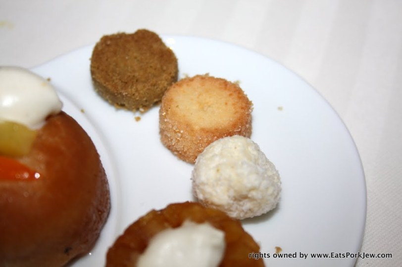 shortbread cookies and white chocolate truffles with coconut from Guy Savoy