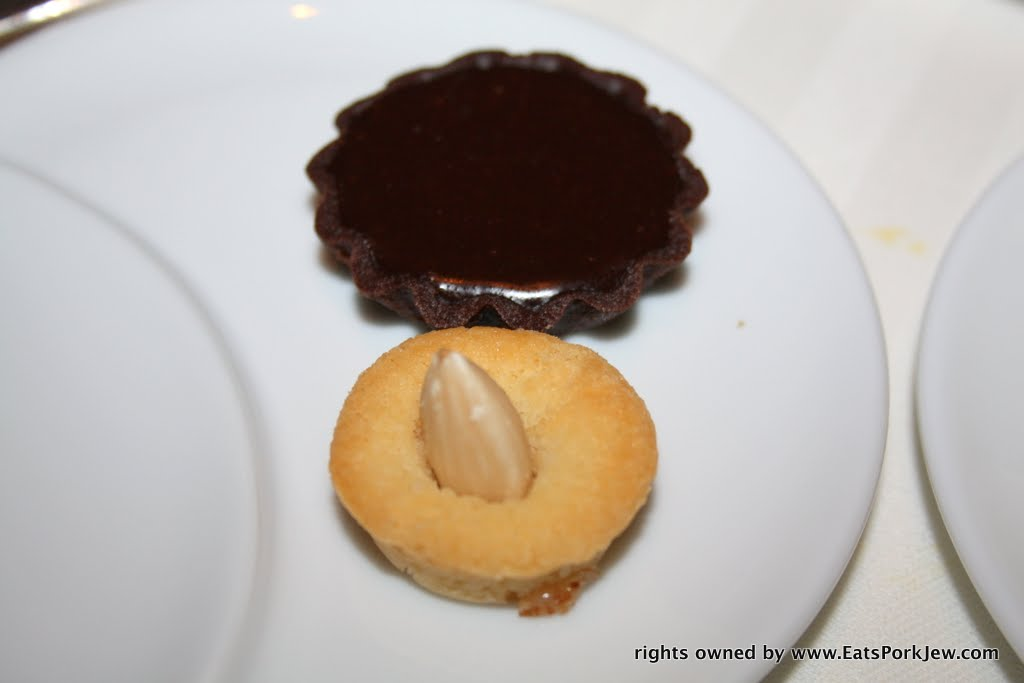 Chocolate ganache tart and almond financier from Guy Savoy