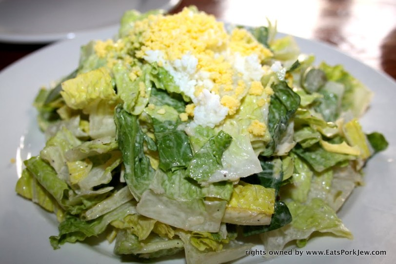 romaine salad with asparagus, Parmesan, sieved egg and a roasted garlic dressing A Coté in Oakland's Rockridge District