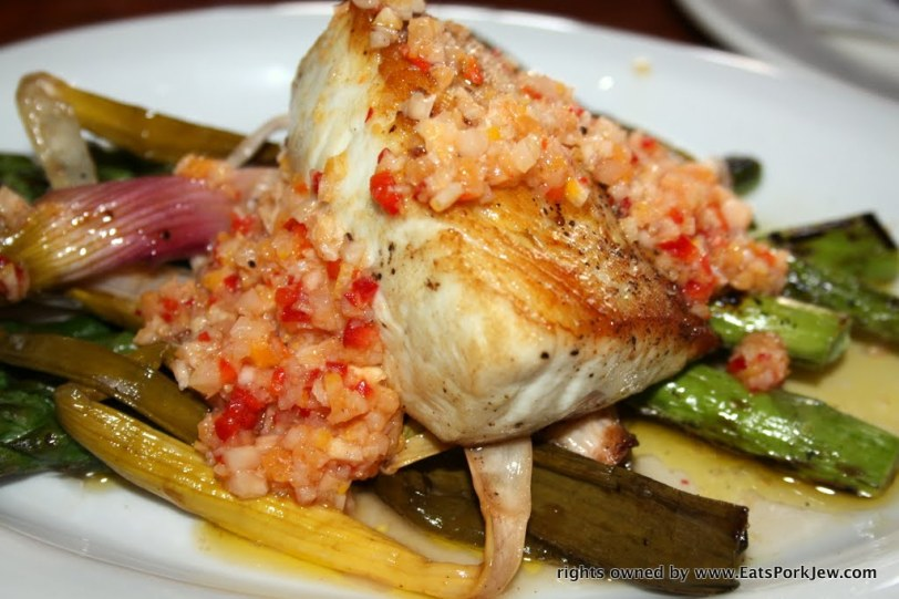 The seared sea bass with grilled asparagus, spring onions and Meyer lemon-blood orange relish  A Coté in Oakland's Rockridge District